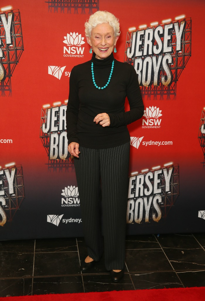 Benita Collings stepped out in a stylish black pant and top for the Jersey Boys opening night.