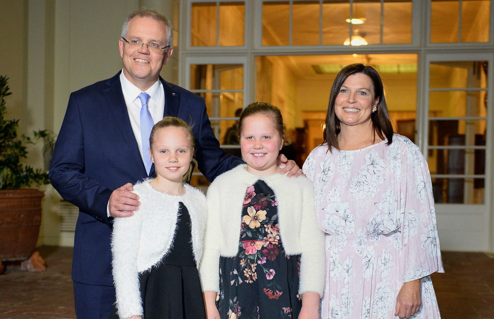 Morrison with his wife Jenny and daughters Abbey and Lily. Source: Getty.
