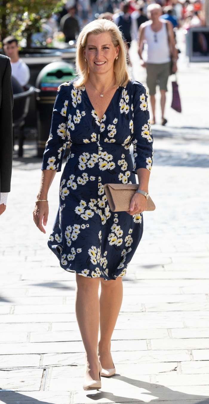 Sophie Wessex looked gorgeous in a summery floral dress during a visit to the Daniel Department Store.