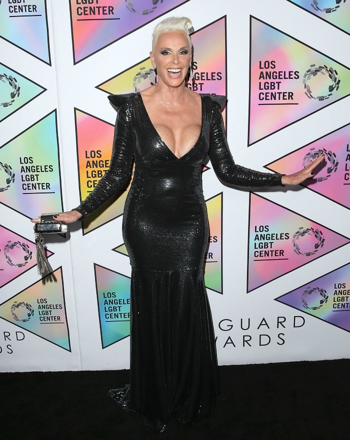 Brigitte Nielsen stunned in the floor-length metallic dress. Source: Getty.