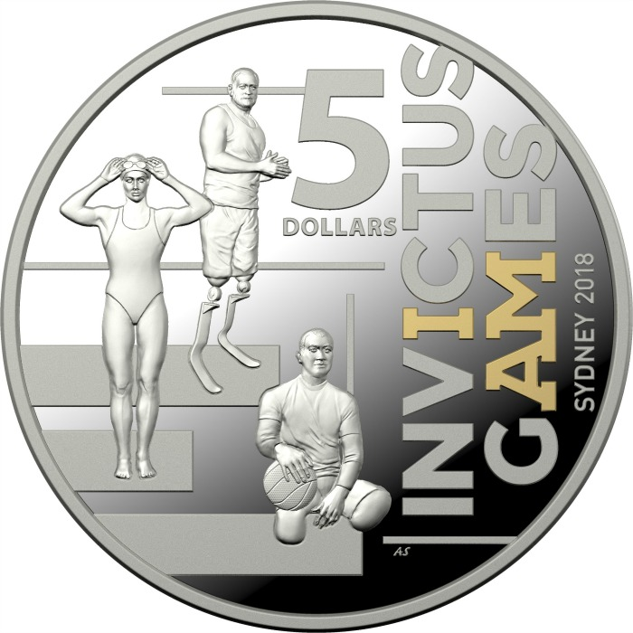 The $5 'Selectively Gold Plated Invictus Games Sydney 2018 coin'. Source: Australian Royal Mint.