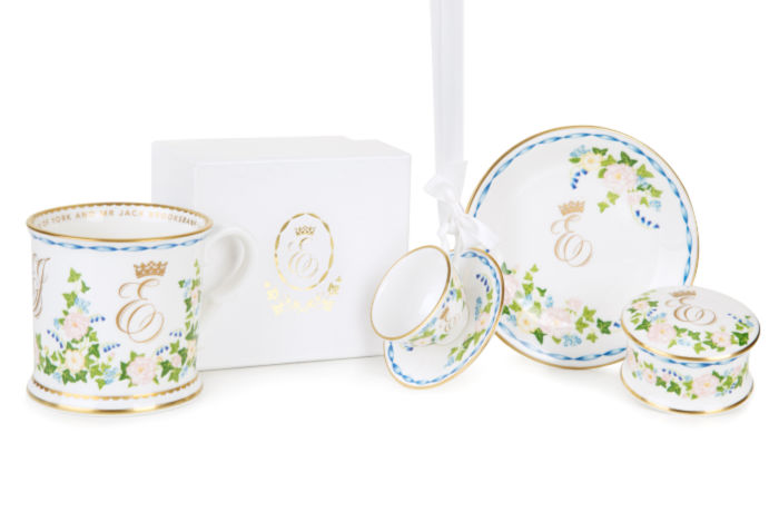 The Royal Collection Trust released images of Princess Eugenie's commemorative wedding china. Source: Royal Collection Trust.