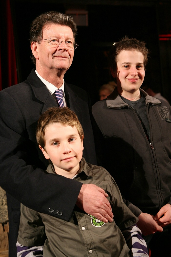 Samuel pictured in 2008 with his father and younger brother Raphael. Source: Getty.
