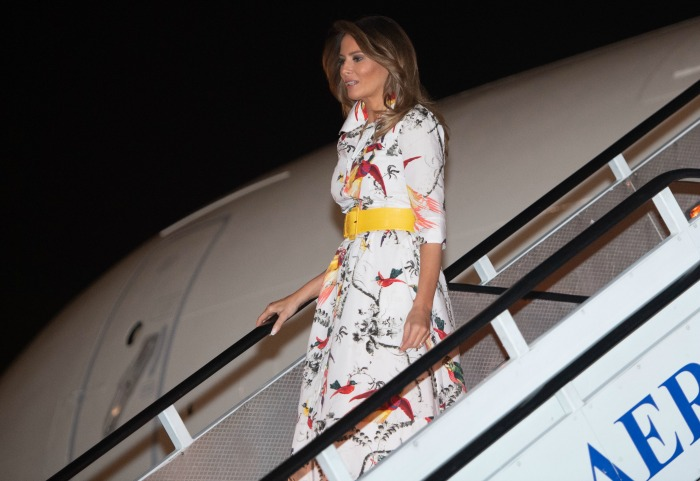 Melania Trump recycled her favourite bird-patterned dress. Source: Getty.