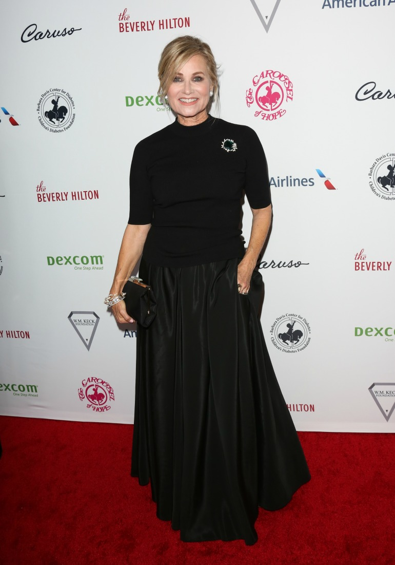 Maureen McCormick cut a stylish figure in a black sparkly outfit as she headed to the Carousel of Hope Ball on Saturday. Source: Getty
