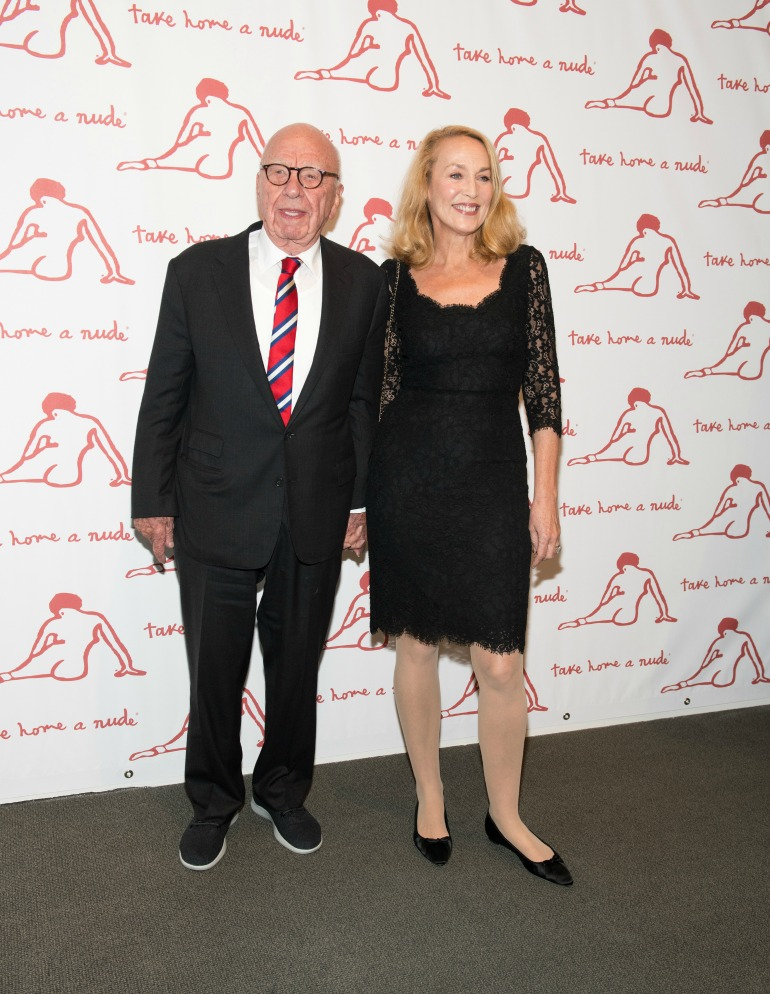 Jerry, 61, turned heads in a saucy lace dress, as she and Rupert, 86, attended an art benefit in New York City on Tuesday night. Source: Getty