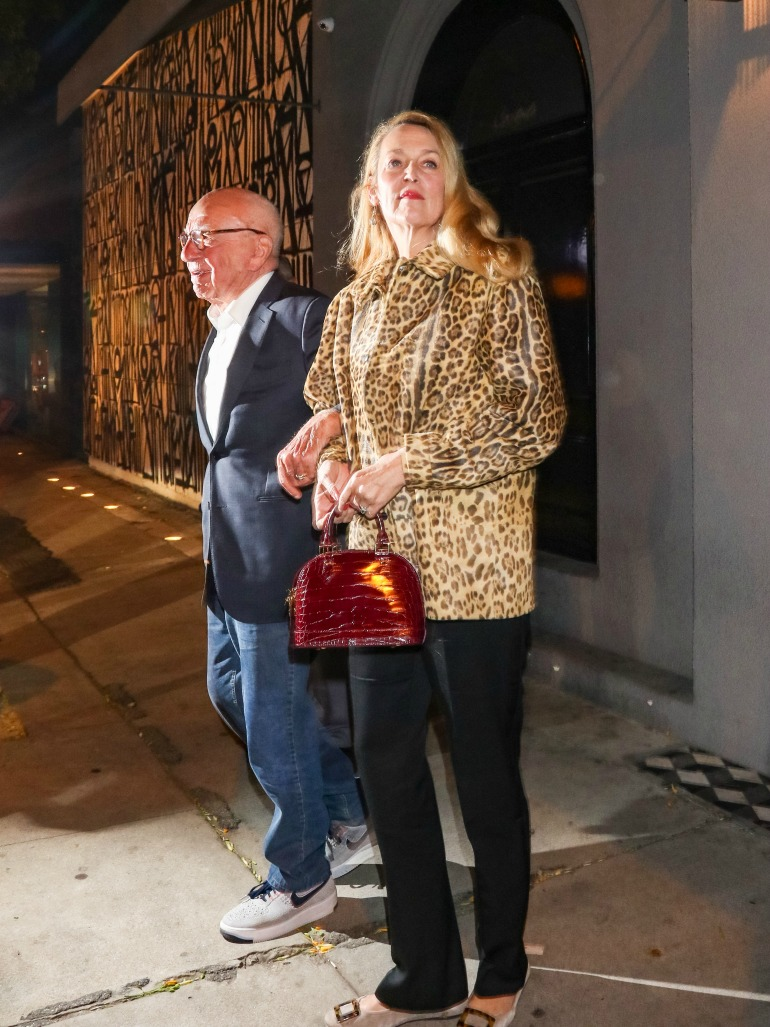 Jerry Hall was spotted sporting a leopard-print coat as she headed for dinner with Rupert Murdoch. Source: Getty