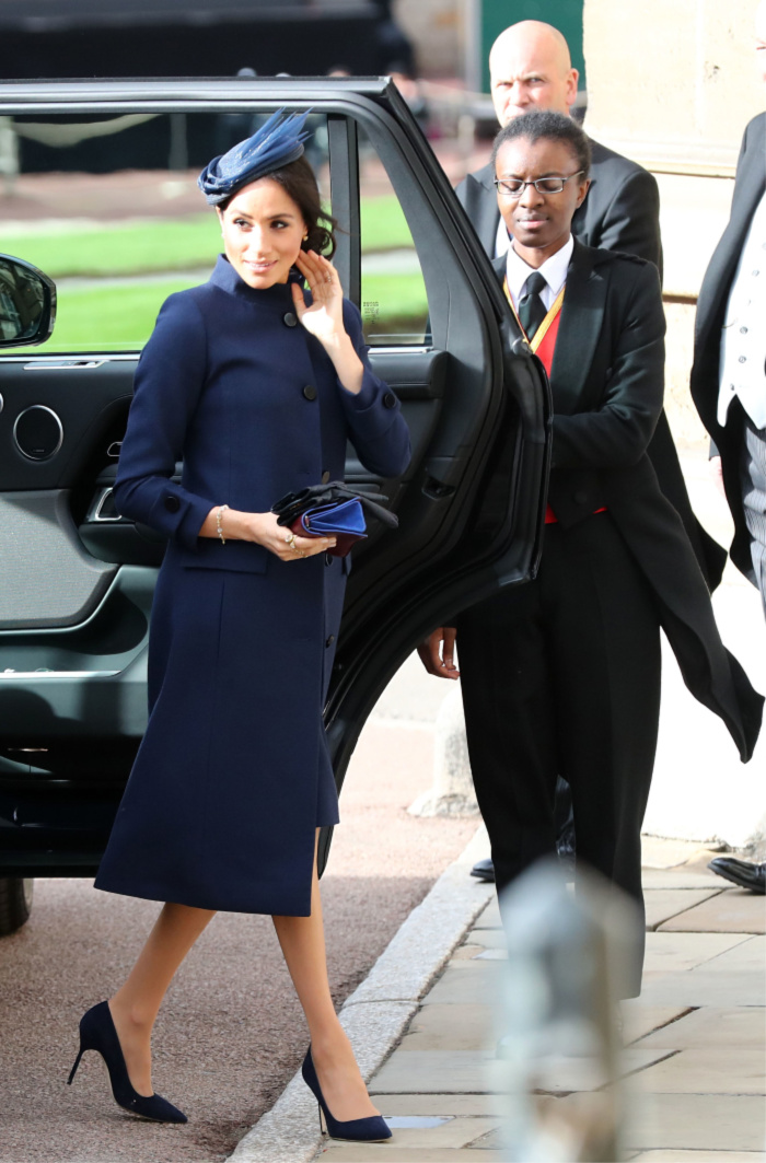 The Duchess of Sussex arrives ahead of the wedding of Princess Eugenie to Jack Brooksbank.