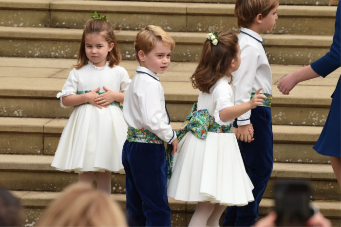 Prince George looked smart in his page boy outfit, which featured a brightly patterned sash. Source: Getty.