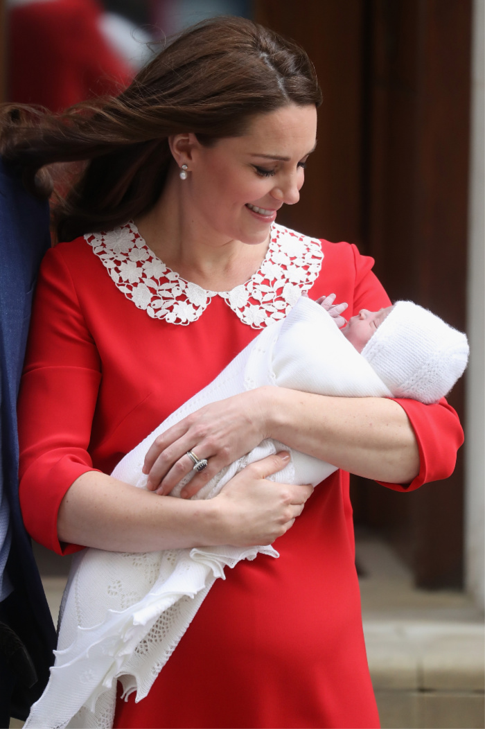 The Duchess of Cambridge cradles her newborn son, Prince Louis, in front of the world's media.