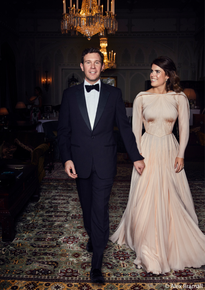Jack and Eugenie dressed to the nines for their glamorous evening reception.