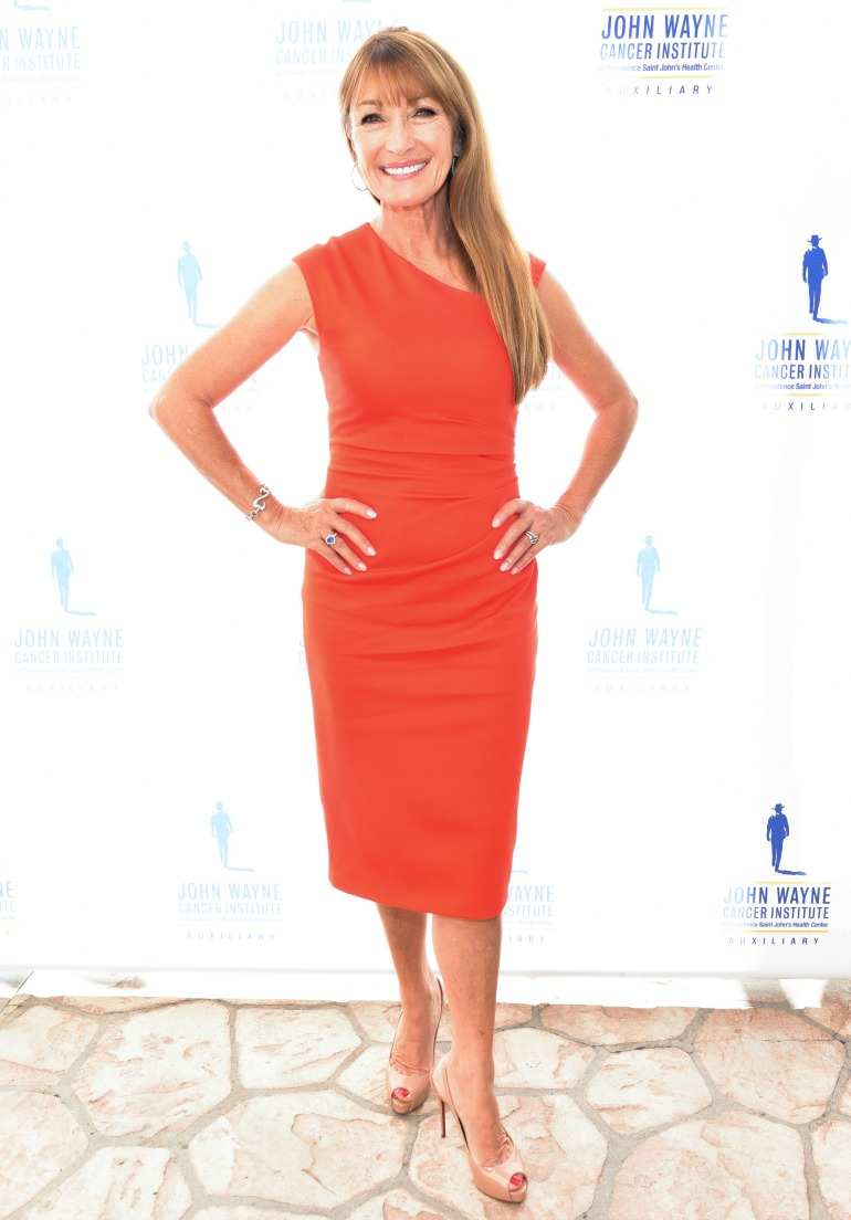 Jane Seymour, 67, put on a stunning display in a figure-hugging red dress as she attended a luncheon in Beverly Hills on Wednesday. Source: Getty