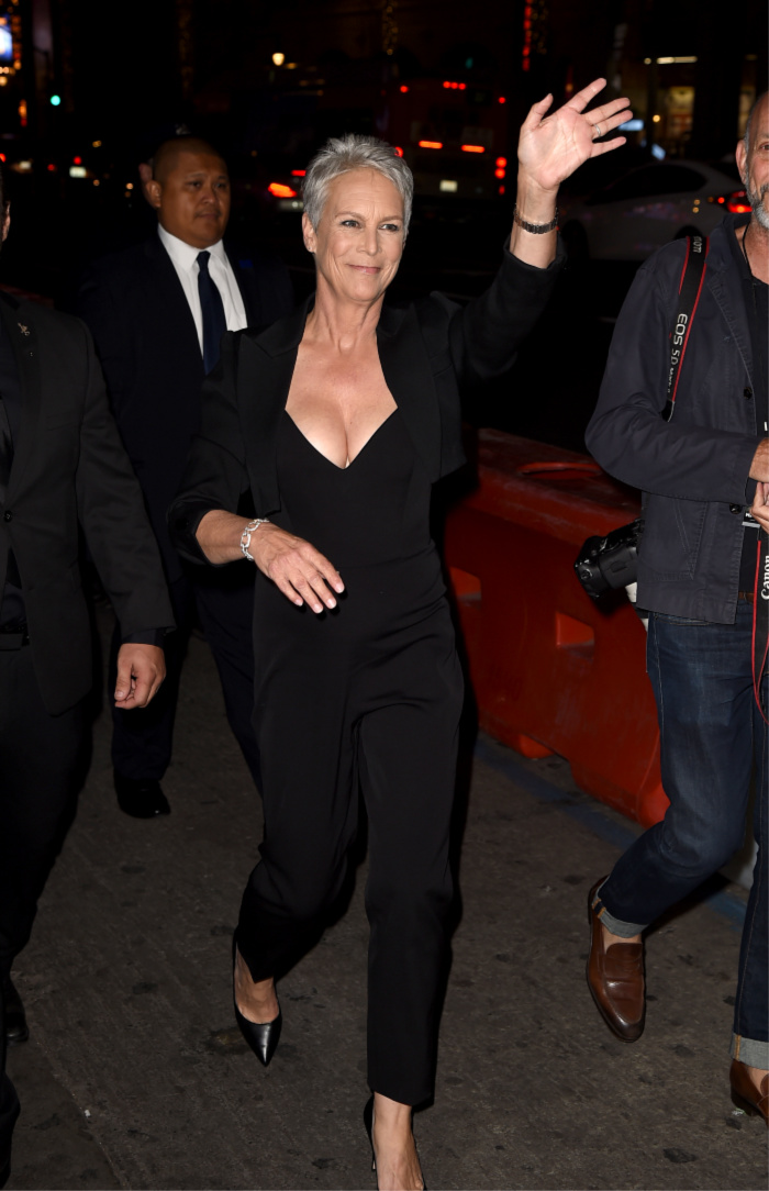Jame Lee Curtis steps out in sexy jumpsuit for movie premiere.