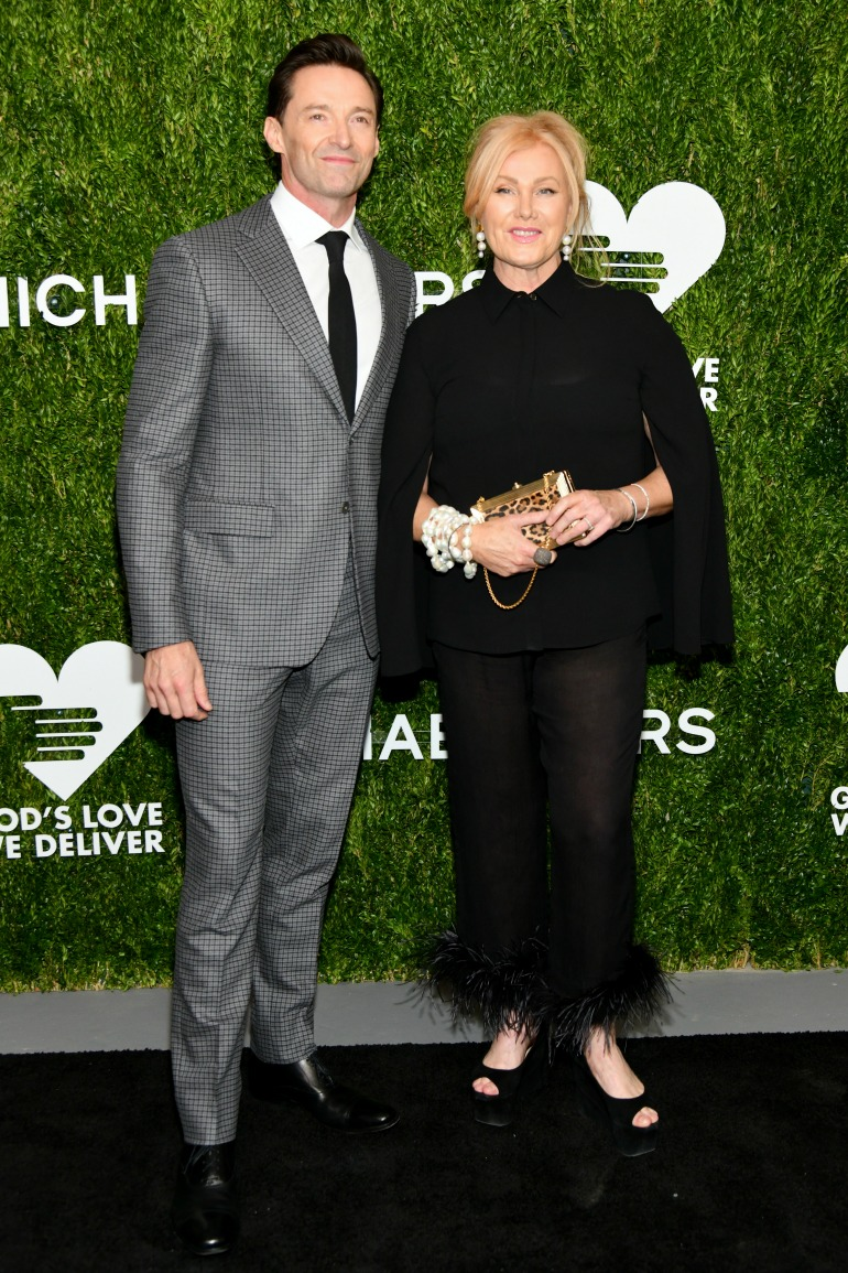 Deborra-lee Furness cut a stylish figure in an all-black ensemble as she was joined by husband Hugh Jackman for the Golden Heart Awards. Source: Getty