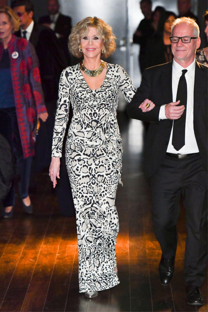 Jane Fonda stepped out in a gorgeous white leopard print frock for the 10th edition of the Festival Lumière in Lyon, France. Source: Getty