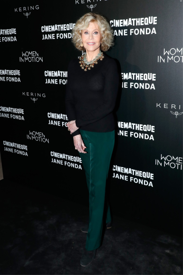 Jane looked sensational in a simple, yet stylish pants and sweater combo. Source: Getty.