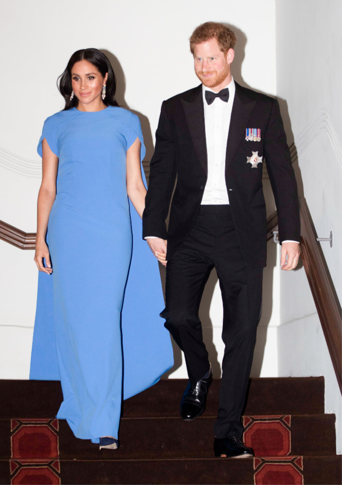 The Duke and Duchess of Sussex attend a state dinner hosted by the president of the South Pacific nation Jioji Konrote.