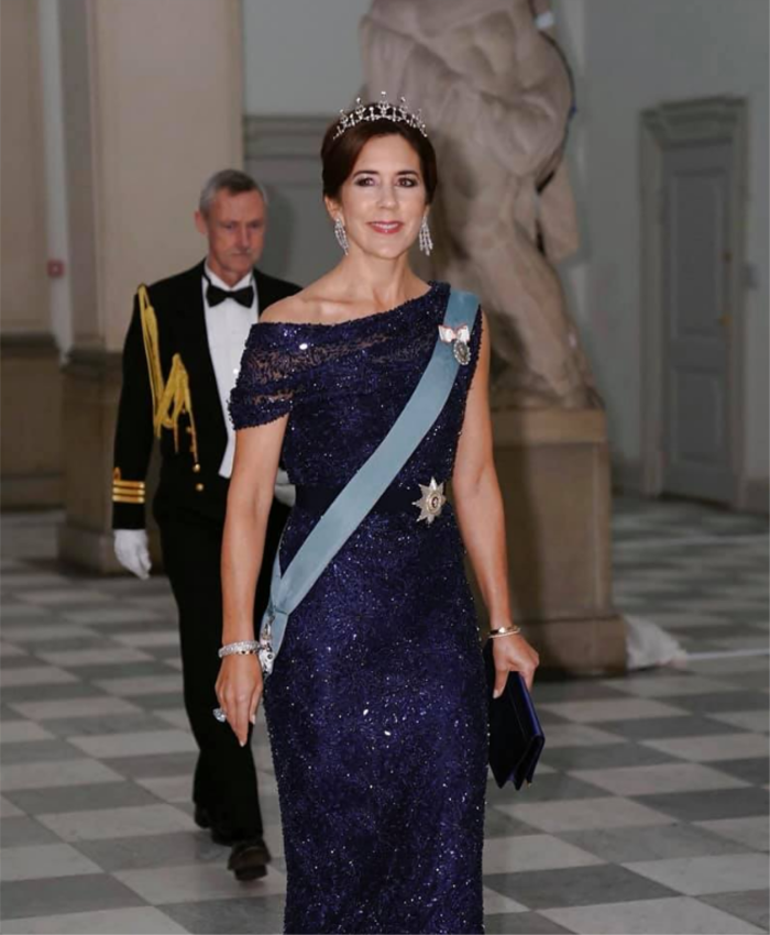 Princess Mary glowed in a stunning blue, sparkly gown.