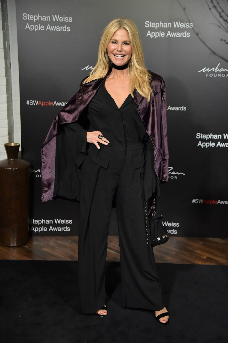 Christie Brinkley stepped out in a wild '70s-style jumpsuit as she attended the Stephen Weiss Apple Awards in New York on Wednesday. Source: Getty