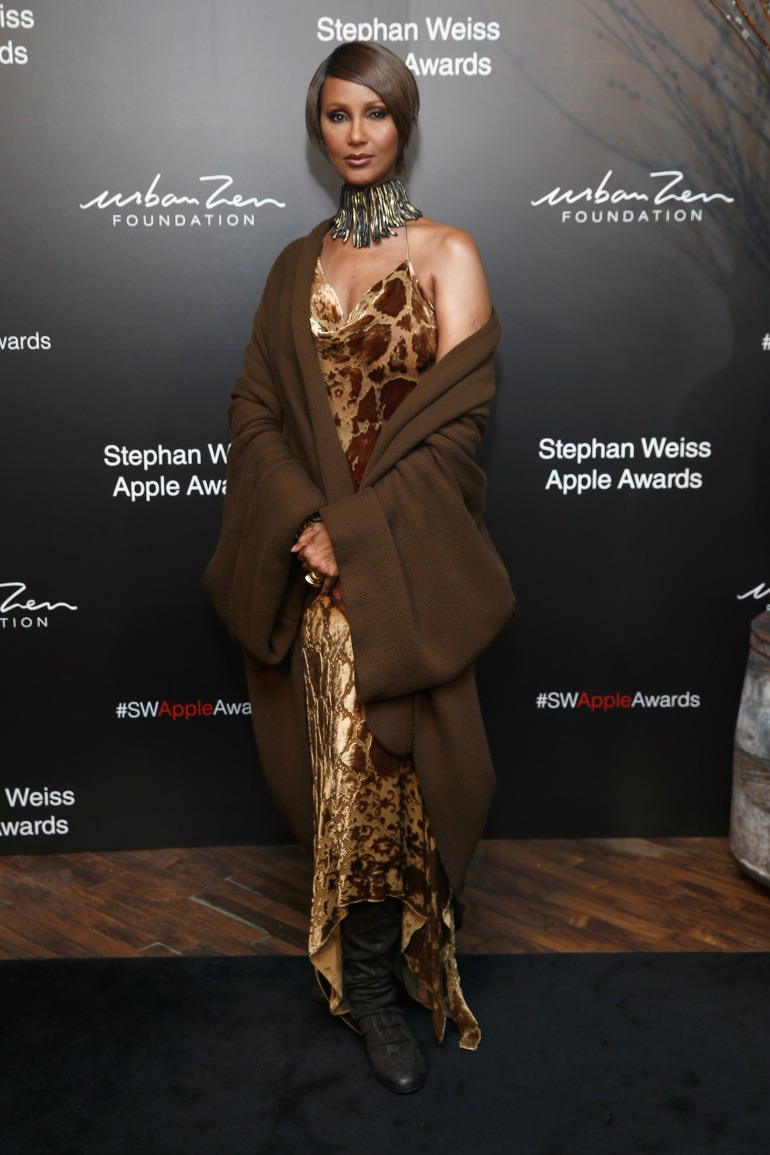 Iman, the wife of the late David Bowie stepped out in an amber-coloured dress as she attended the Stephen Weiss Apple Awards in New York on Wednesday. Source: Getty