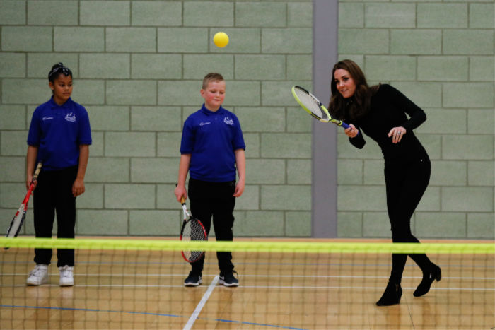 The famously athletic duchess showed off her tennis skills. Source: Getty.