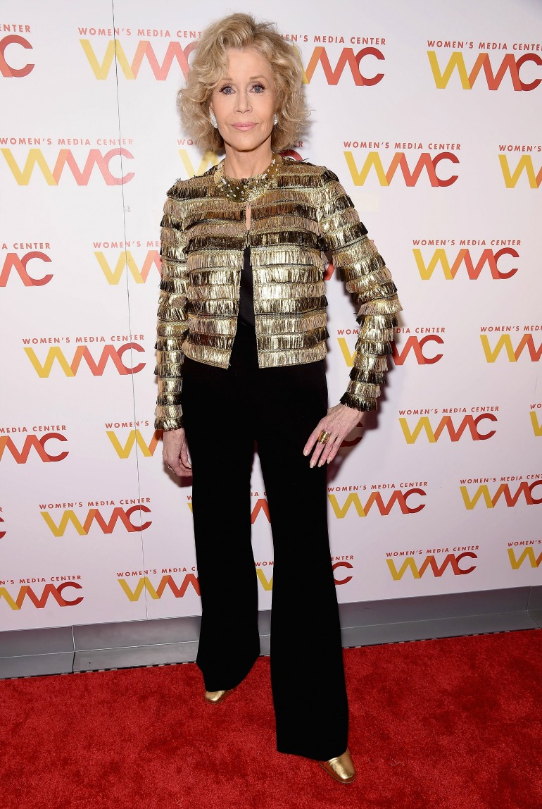 Jane Fonda certainly didn't disappoint as she shimmered in gold for Thursday's Women's Media Awards in New York City. Source: Getty