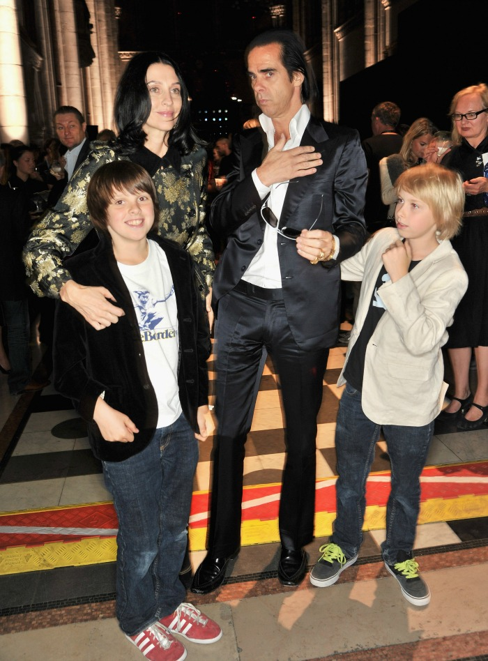 Nick Cave with his wife Susie and sons Earl and Arthur (right). Source: Getty.