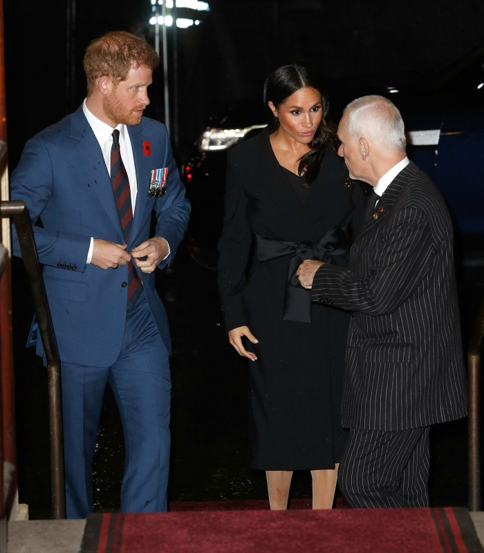 Meghan was supported by Prince Harry as she made her way inside. Source: Getty.