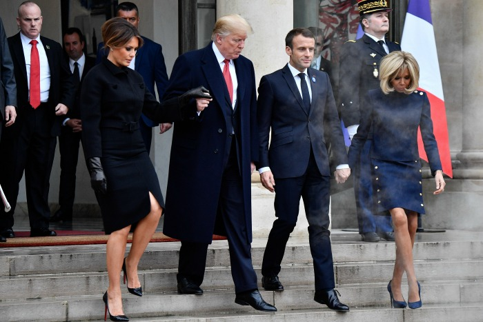 The Trumps met the Macrons in Paris. Source: Getty.