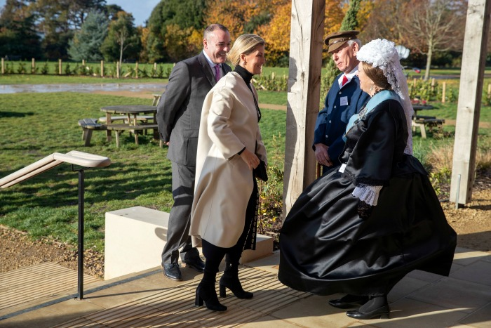The Countess of Wessex was met by a woman dressed as Queen Victoria. Source: Getty.