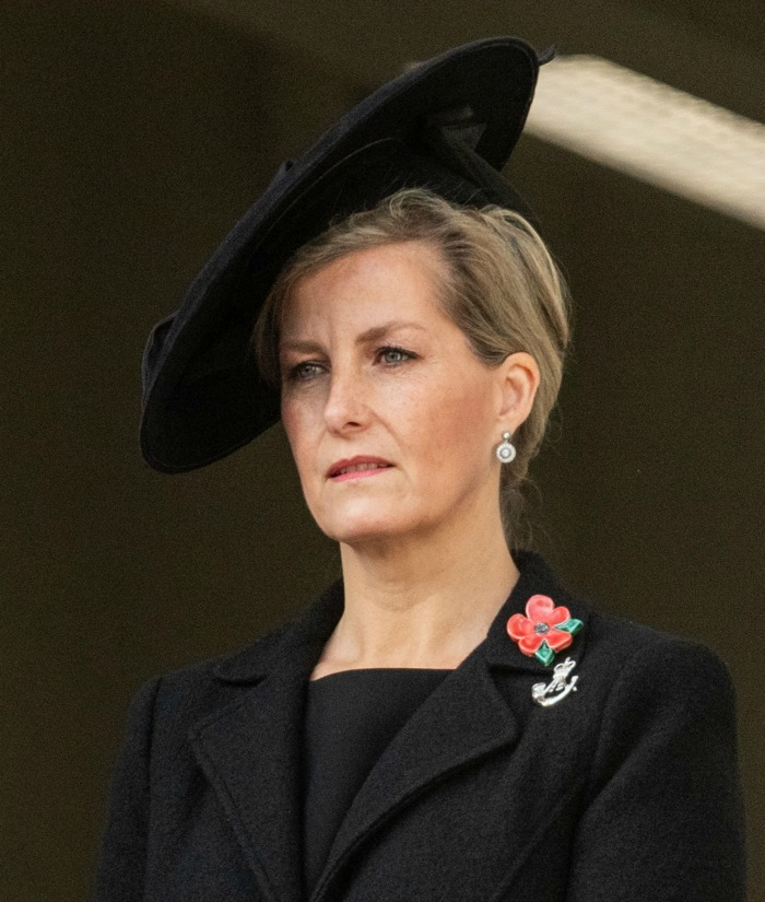 Sophie Wessex chose a black jacket and hat for the Sunday memorial service. Source: Getty.