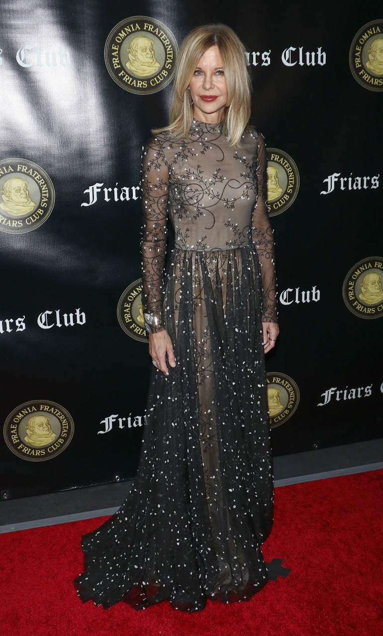 Meg Ryan didn't disappoint in the style stakes as she wowed in a sheer gown as she attended Billy Crystal's Friars Club award ceremony on Monday night. Source: Getty