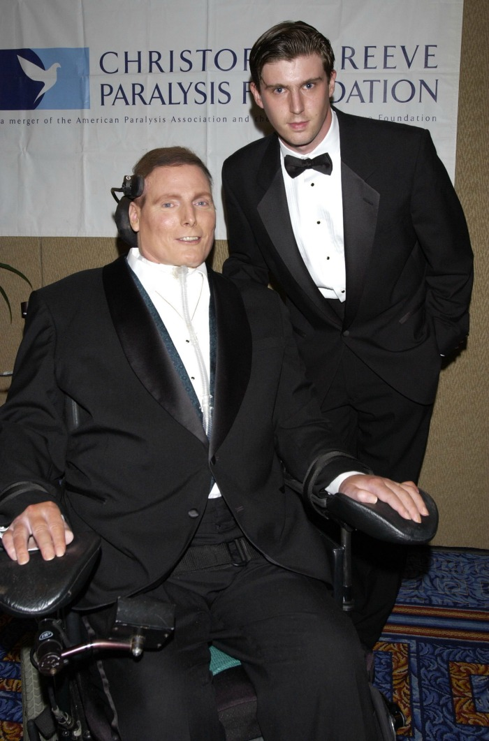 Christopher Reeve and son Matthew Reeve pictured in 2002.