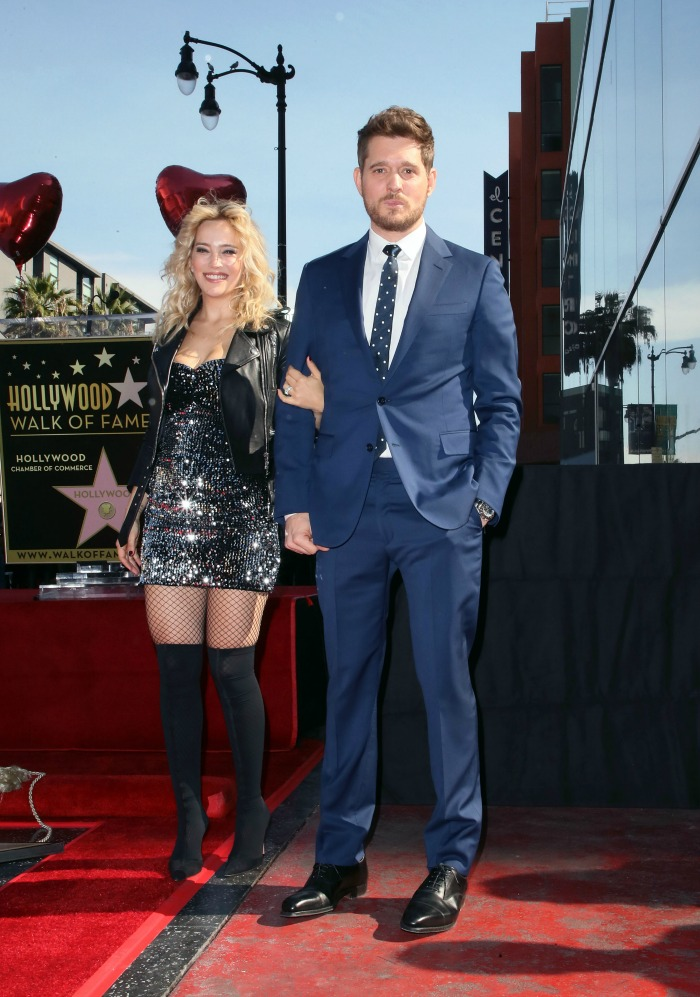 flawless priscilla presley honours michael buble with hollywood star