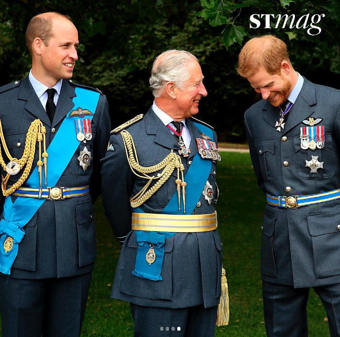 Prince William, Prince Charles and Prince Harry share a laugh as they pose together.