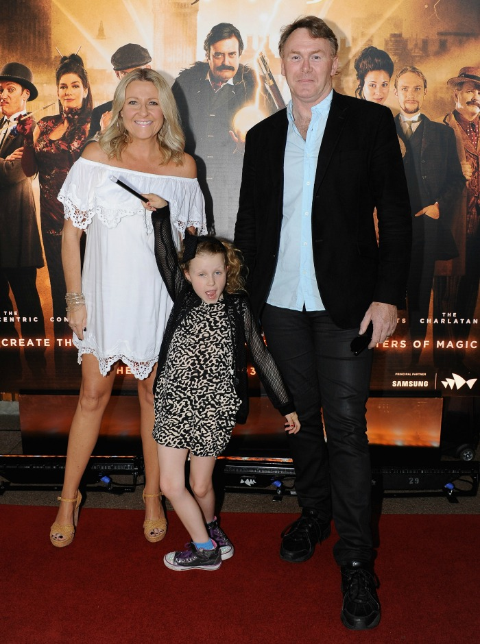 Angela Bishop with late husband Peter and their daughter Amelia. Source: Getty.