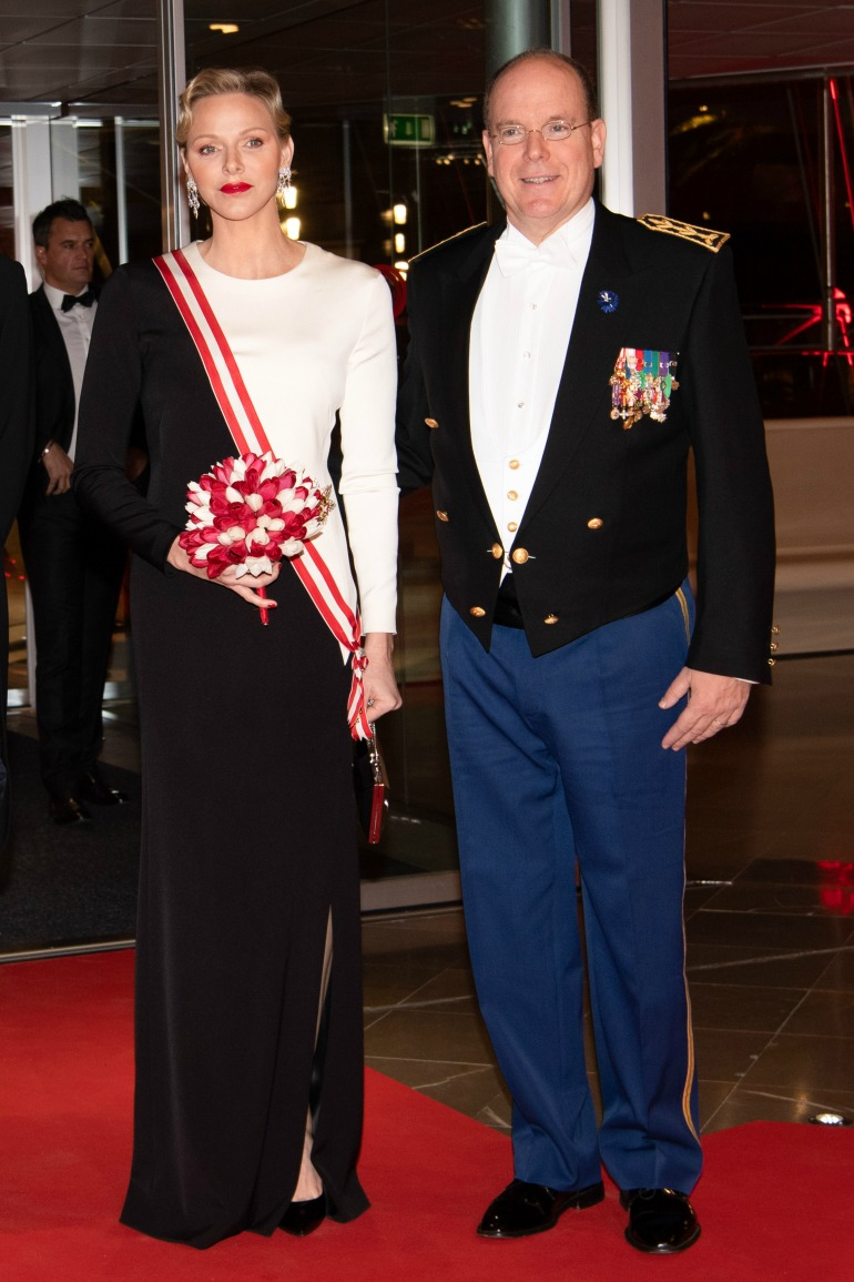 Prince Charlene and Prince Albert attend a Gala during Monaco's National Day. Source: Getty