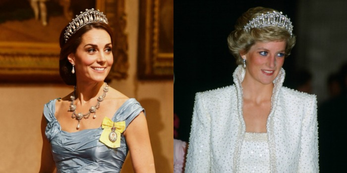 Catherine wore Diana's beautiful tiara to meet the Dutch royals. Source: Getty.