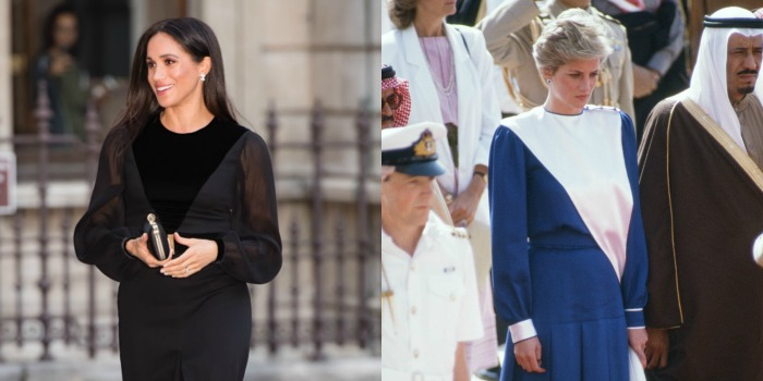 Meghan stunned in the V-neck design on her first solo engagement as a royal. Source: Getty.
