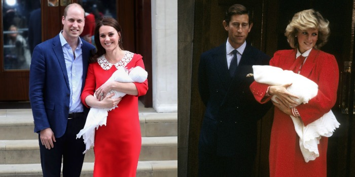 Catherine paid tribute to Diana with her red dress after Louis' birth. Source: Getty.