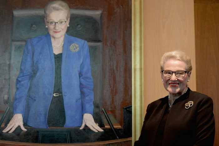 Former speaker Bronwyn Bishop with her official portrait at Parliament House on November 26.