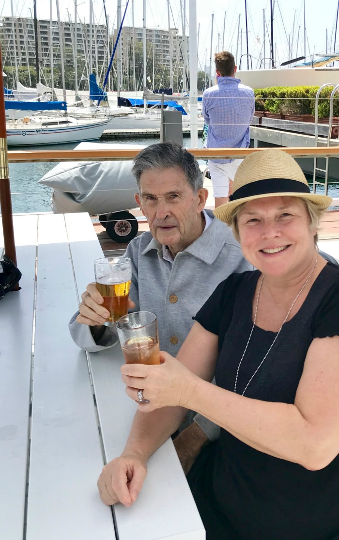 Jono's wife Margot and her father Peter. Source: Jono Coleman (supplied).