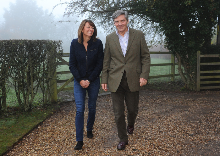 Carole and Michael Middleton greeted press outside their home after Catherine and William announced their engagement.