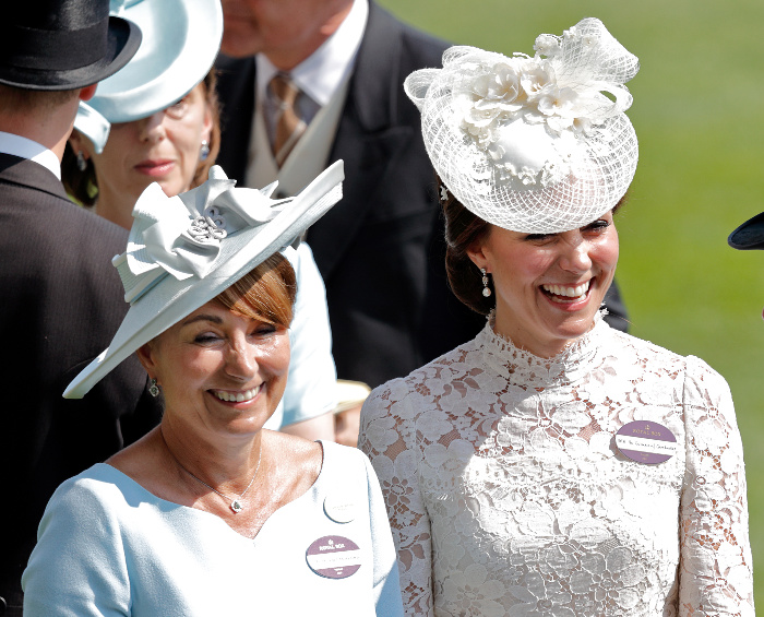Carole Middleton accompanies her daughter the Duchess of Cambridge to the races.