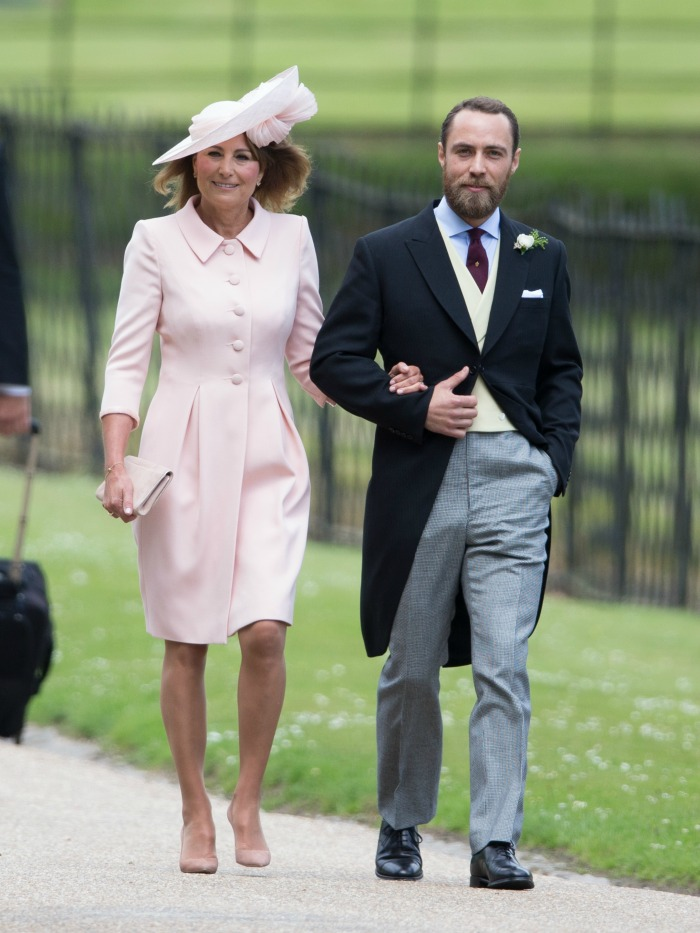 Carole with her son James at Pippa Middleton's wedding. Source: Getty.