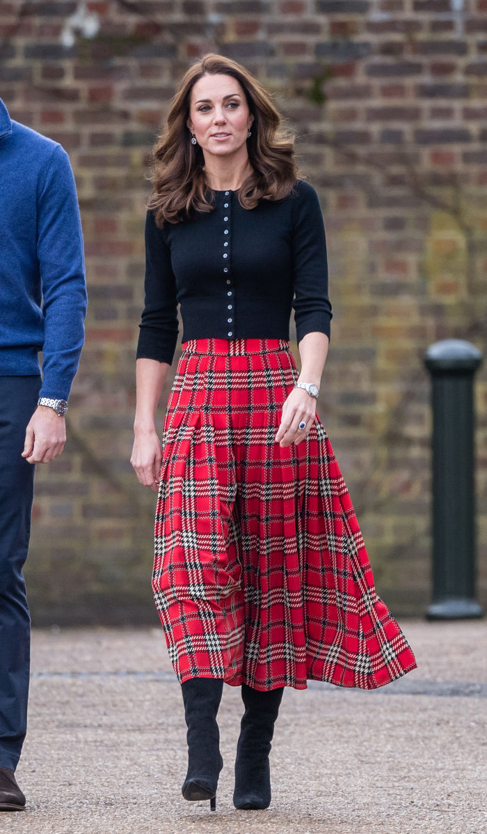 Mother-of-three Catherine looked stunning in a statement tartan skirt. Source: Getty.