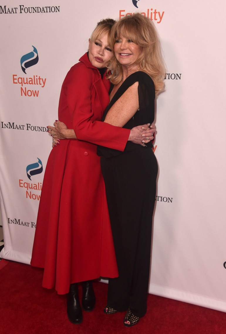 Goldie Hawn and Melanie Griffith both looked fabulous as they attended the annual Make Equality Reality Gala in California on Monday night. Source: Getty