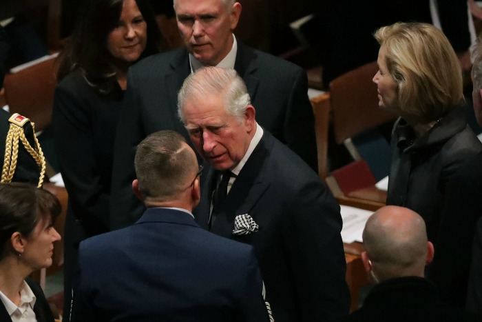Prince Charles represented the royal family at the funeral. Source: Getty.
