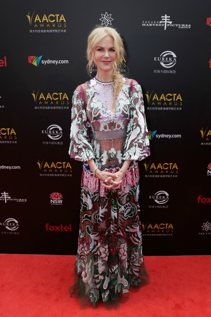 Nicole Kidman shone out in a vibrant floral dress. Source: Getty.