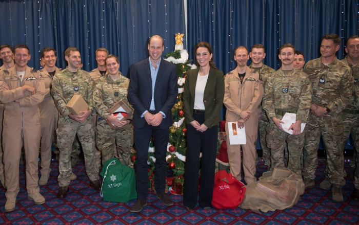 William and Kate in snowball fight at Christmas party for RAF families